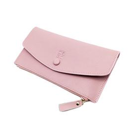Wholesale Genuine Leather Checkbook Wallet - 2017Women Wallet High Quality Soild Color Long Women Purse Fashion Card Holder Zipper Coin Pockets Female Purse