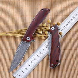 Wholesale Free Handmade Christmas Gifts - Free shipping New 7 '' inch handmade red sandalwood handle folding knife Damascus blade EDC pocket knife camping tool Men's Christmas gift