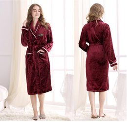 Wholesale Fleece Bathrobes Women - Wholesale Elegant Flannel long Robes Women Winter bathrobe Nightgown Thickening fabric soft Keep warm Long sleeved Coral Fleece Robes 801