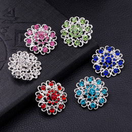 Wholesale Small Glass Flower - 6 colors Sparkly Silver Plated Clear Rhinestone Crystal Diamante Nice Design Small Heart Flower Brooch Party Prom Gift Pins