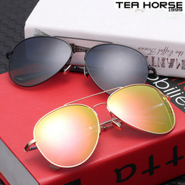 Wholesale Horse Driving - Tea horse 2017 new fashion polarized sunglasses men and women driving sunglasses stainless steel classic pilot sunglasses beach fashion show