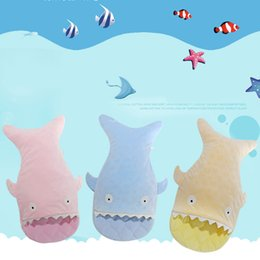 Wholesale Cute Small Newborn Babies - Wholesale- Small Shell Cute Shark Baby Cartoon Sleeping Bag Newborns Winter Strollers Bed Swaddle Blanket Wrap Bedding Envelope Baby