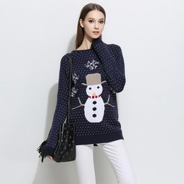 Wholesale Loose Cute Sweaters - Women Sweaters Pullovers High Quality Knitted Tops Sweater O Neck Long Sleeve Casual Loose Knitwear Cartoon Cute Gray Blue Pullover