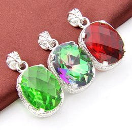 Wholesale Red Topaz - 2017 fishion Jewelry Top Quality Luckyshine 2pcs Lot Vantage mix color Topaz Gemstone 925 Silver Pendant Trendy Weddings Jewelry Gift