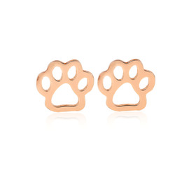 Wholesale Copper Printing Plates - min 1pc Animal Pet Paw Print Earrings Punk jewelry studs dog gifts boucle d'oreille femme 2017 ED163