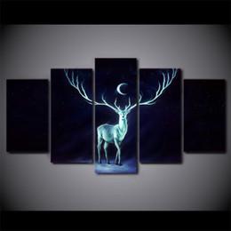 incorniciato cervo pittura Sconti 5 pannello HD stampato con cornice luna notte cervo moderno Home Decor pittura su tela immagini a parete