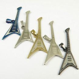 Componente de música on-line-Encantos de aço inoxidável de moda de nova música guitarra pingentes jóias DIY descobertas componentes Fit colar frete grátis