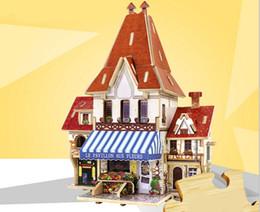 Wholesale Wood Castles Wholesale - DIY Wood 3D Puzzle Assembling Educational Toys Children Castle Model Jigsaw Puzzle