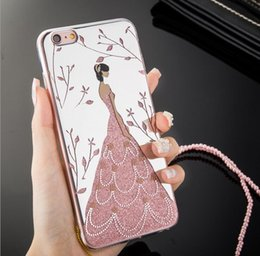 Wholesale Mobile Phone Flower Case - Fashion Wedding Dress Girl phone case Cover For Apple iPhone 7 Plus Case Flower Skirt For iphone 7 plus Mobile Phone Cases