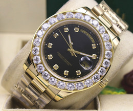 Wholesale 41 Mm - Brand New Wristwatches 18k Yellow Gold 41 MM President Day-Date 18038 Bigger Diamond Bezel Automatic Mechanical Black Dial Mens Watches
