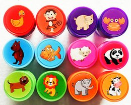 Wholesale Self Inking Stamps Kids - Wholesale- Kids Cartoon Stamp Children Custom Plastic Rubber Self Inking Stampers Toys