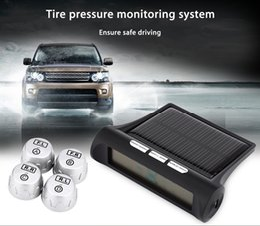 Wholesale Tpms External Sensor - 2017 New Car Tire Pressure Monitoring Intelligent System Solar Power Wireless LED Display TPMS with 4 External Sensor