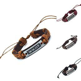 jesus encantos al por mayor Rebajas Al por mayor-¿Qué haría Jesús (WWJD) encanto de cuero genuino carta pulsera brazalete pulsera brazaletes moda para mujeres hombres regalos
