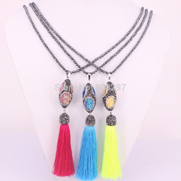 Wholesale Silk Fill - 5Pcs Handmade Hematite Bead Chain Necklace Pave Rhinestone Silk Tassel and Olive Gems Stone Bead Pendant Necklace