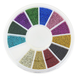 Wholesale Alloy Nail Art Mixed - Wholesale-Blueness 12 colors Mixed Alloy Glitter 3D Nails Art Jewelry Decorations Charms Adhesive Beads Supplies for Nails ZP206