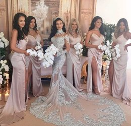 Wholesale Wedding Guest Dresses Long Sexy - Custom Made 2017 Blush Bridesmaid Dresses Sexy Spaghetti Straps Side Split Backless Satin Plus Size Party Gowns Wedding Guest Maid of Honor
