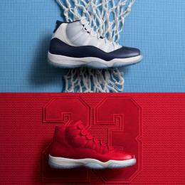 Wholesale Baskets Shoes - (with box) 2018 Air Retro 11 UNC Gym Red Men Basketball Shoes Wine like 82 96 Retros 11s women Sports Sneakers eur 36-47