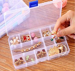 Wholesale Tiny Plastic Containers - Adjustable Compact 15 Grids Compartment Plastic Tool Container Storage Box Case Jewelry Earring Tiny Stuff Boxes Containers