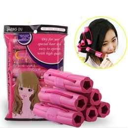 Wholesale Pink Sponge Rollers - 6pcs set Magic Foam Sponge Hair Curler DIY Fashion Wavy Hair Travel Home Use Soft Hair Curler Rollers Styling Tools ZA2053