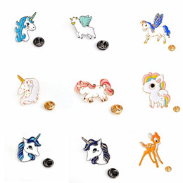 Wholesale Cute Pin Badges - Fashion Unicorn Button Pin Badge Collar Pin Brooch Women Fashion Bag Jean Hat Accessories Cute Jewelry
