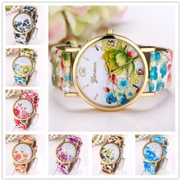 Wholesale Geneva Watches Colors - 2017 New Geneva Personality Quartz Watches Casual Classic Rose Print Ladies Watches 7 Colors Fashion Designer Women Watch