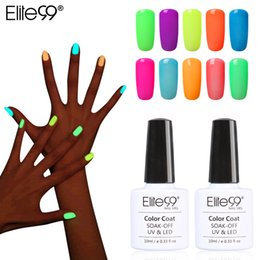 Wholesale Glowing Gel Nail - Wholesale-Elite99 10ml Fluorescent Neon Luminous Nail Polish 24 Candy Color LED UV Gel Night Glow In Dark Women Nail Gel Polish Pick 1