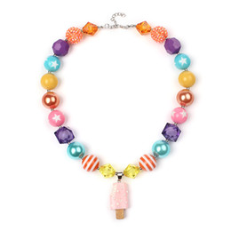 Wholesale Chunky Beads For Kids - Free Shipping Fashion Beaded Kids Jewelry Popsicles Chunky Bubblegum Beads Necklaces Design For Gift