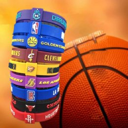 Wholesale Rubber Bracelets Free Shipping - Wholesale Basketball Team Adjustable Bracelet Silicone Wristband Rubber Hand Ring Band For Basketball Fans Free Shipping