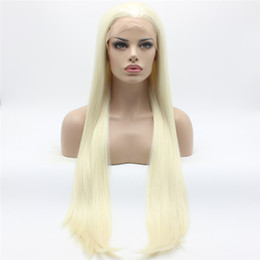 Wholesale Extra Long Lace Hair - Iwona Hair Straight Extra Long White Light Blonde Mix Wig 22#1001 613 Half Hand Tied Heat Resistant Synthetic Lace Front Wigs