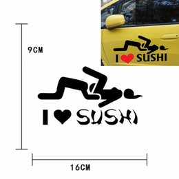 Wholesale Car Oil Changes - I love sushi Stickers Car Sticker Reflective Motorcycle Decal Helmet Scratch Funny Sticker For opel vw bmw ford Car styling