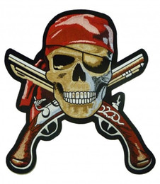 Wholesale pirate patches - Bold Pirate Skull With Guns Patch, Pirate Embroidered Iron On Or Sew On Patches 2.75*3 INCH Free Shipping