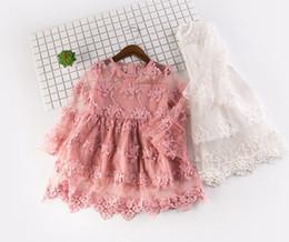 Wholesale Embroidery Baby Dress - Spring Summer New Girls Lace Long Sleeve Embroidery Dress Princess Skirt Girls Dress Baby Girls Flower TUTU Dress