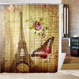 Wholesale Paris Curtains - Wholesale- New Arrived Shower Curtains Bathroom Curtain WIth 12 Hooks Paris Eiffel Tower Thickened Polyester Waterproof Bath Shower Curtain
