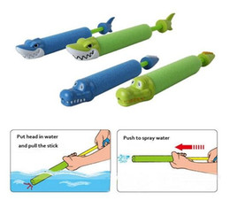 Wholesale Toy Crocodiles - Shark Crocodile Spray Water Gun Pearl Cotton Water Cannon Kids Children Summer Outdoor Beach Toys-Colors Assorted