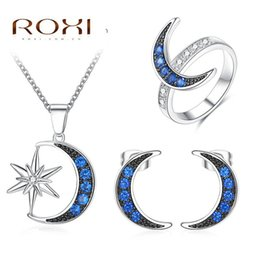 Wholesale Mixed Pendent - ROXI Mother 's Day Fashion Earrings   Long Necklace Pendent   Rings Jewelry Set for Women Moon Star Female Engagement Jewelry