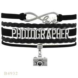 Wholesale Photographer Gifts - Custom-Infinity Love Christmas Gifts Bracelet Black Women Leather Custom Bracelet Gifts Infinity Love Photographer Camera Charm Bracelets