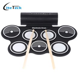Wholesale Portable Midi Drum - Wholesale- High Quality Silicone Electronic Drum Pad Kit Portable Digital USB MIDI Roll-up with Drumstick Foot Pedal Foldable