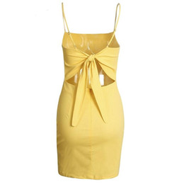 Wholesale Skirts Tanks Bows - Backless 2017 Beach Summer Dresses Women Sundress Bow Casual Vacation Linen Dresses Slim Fit Bodycon White Short Tank Top Skirts
