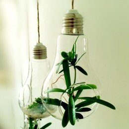 Wholesale M Container - 2017 New Glass Bulb Lamp Shape Flower Water Plant Hanging Vase Hydroponic Container Pot Home Office Wedding Decor