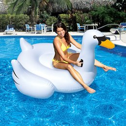 Wholesale Inflatable Pvc Toys For Kids - 150CM Inflatable PVC Pool Toys Aeration White Swan Swimming Lounge Pool Floats Rideable Design Toys Suitable For Adults And Kids