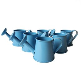 Wholesale Tin Party Pails - Free Shipping party supplies mini small tin box Watering cans baby shower souvenir baby shower favors blue colors mini pail