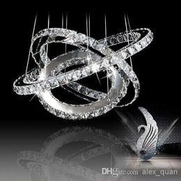 Wholesale Wedge Rings - Round LED K9 Lustre Crystal Chandelier Lighting Modern Pendant lamp Lights for home (3 ring 60*40*20 cm)+Free shipping PL291
