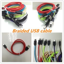 Wholesale Micro Rope - 2017 Braided USB Cable 1M Aluminum V8 Micro USB Data Line Sync Charger Cable Cord Weave Rope Data Line For Smart Phone cable