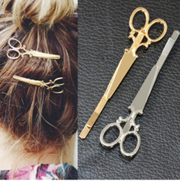 Wholesale Tiaras For Head - Cool Simple Head Jewelry Hair Pin Gold Scissors Shears Clip For Hair Tiara Barrettes Accessories wholesale