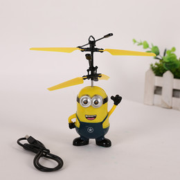 Wholesale Remote Control Aircraft Rc - RC Helicopter Ball Flying Induction Despicable Me Minions Drone Sensor Suspension Remote Control Aircraft for Kids Xmas Gift