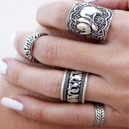 Wholesale Antique Vintage Wedding Bands - 4PCS Vintage Punk Ring Sets Carved Antique Gold Plated Elephant Totem Lucky Rings Anillos for Women Boho Beach Jewelry