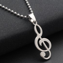 Wholesale Western Slides - 50PCS Lot Western Styles Women's Music Note Necklace Titanium Stainless Steel Pendant Necklace Music Notes Necklace Sweater Chains