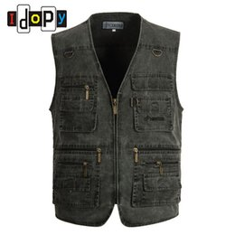 Wholesale Denim Waistcoat Men - Wholesale- Spring Mens Denim Vest Multi Pocket Zippers Closure Photographer Waistcoat Sleeveless Jacket For Male