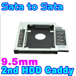 "Wholesale Ide Hd Enclosure - Wholesale- 9.5mm 2.5"" SATA to SATA Aluminum 2nd SSD HDD HD Hard Disk Drive 3.0 Caddy External Enclosure CD DVD Optical Bay Case for Laptop"