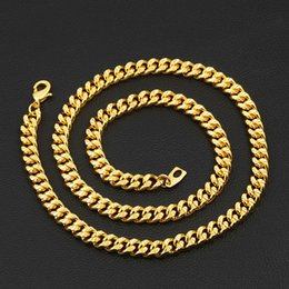 bedffe13c457 Luxury 18K Yellow Gold Plated Men Chain Width 7MM 46CM- 81CM Length Chain  Necklace for Boy Friend Husband Nice Jewelry Gift